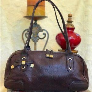 GUCCI GG Print Leather Bag